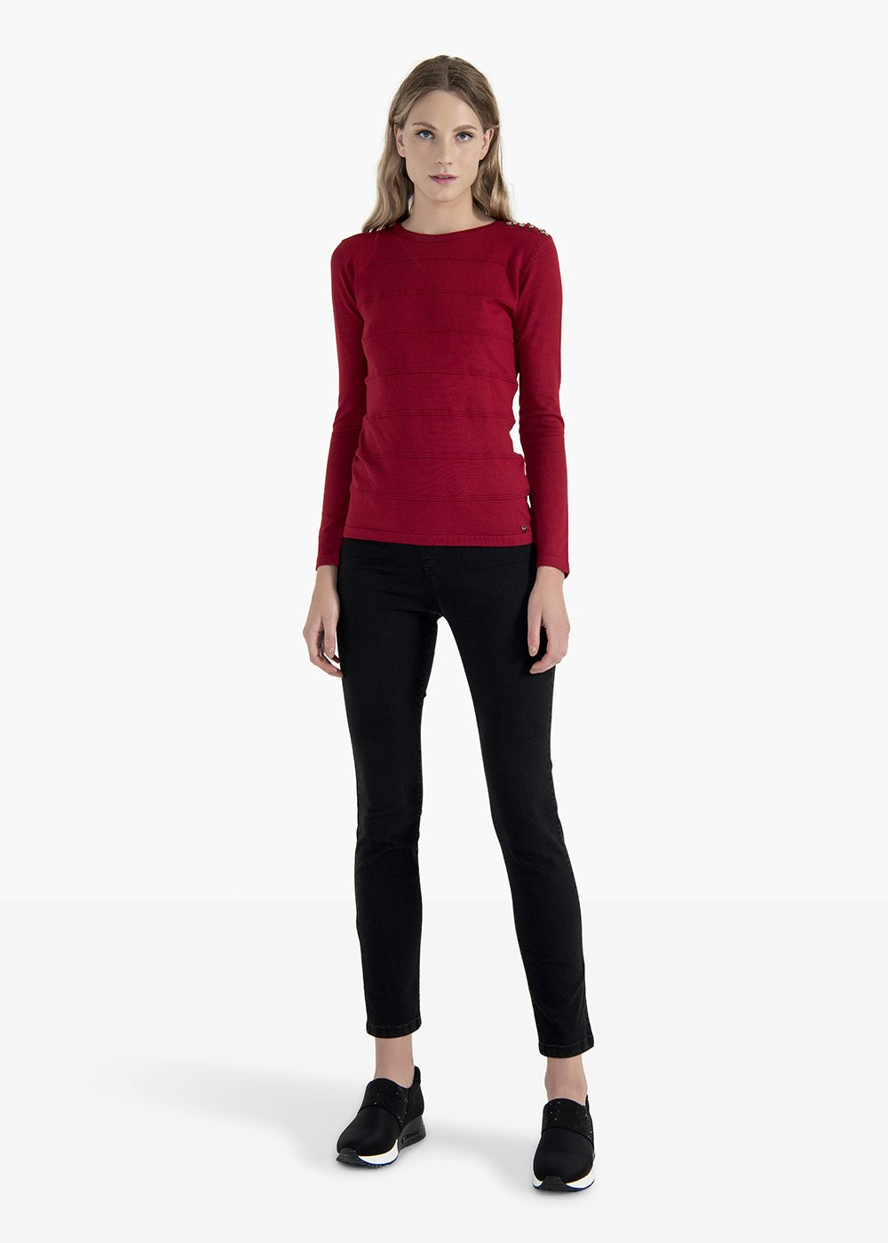 Margo sweater with beaded embroidery and crystals on the shoulder - Red - Woman
