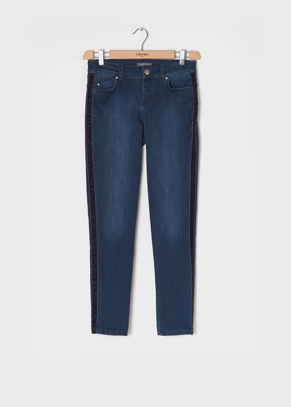 Damon denim with five pockets and skinny leg - Dark Denim - Woman