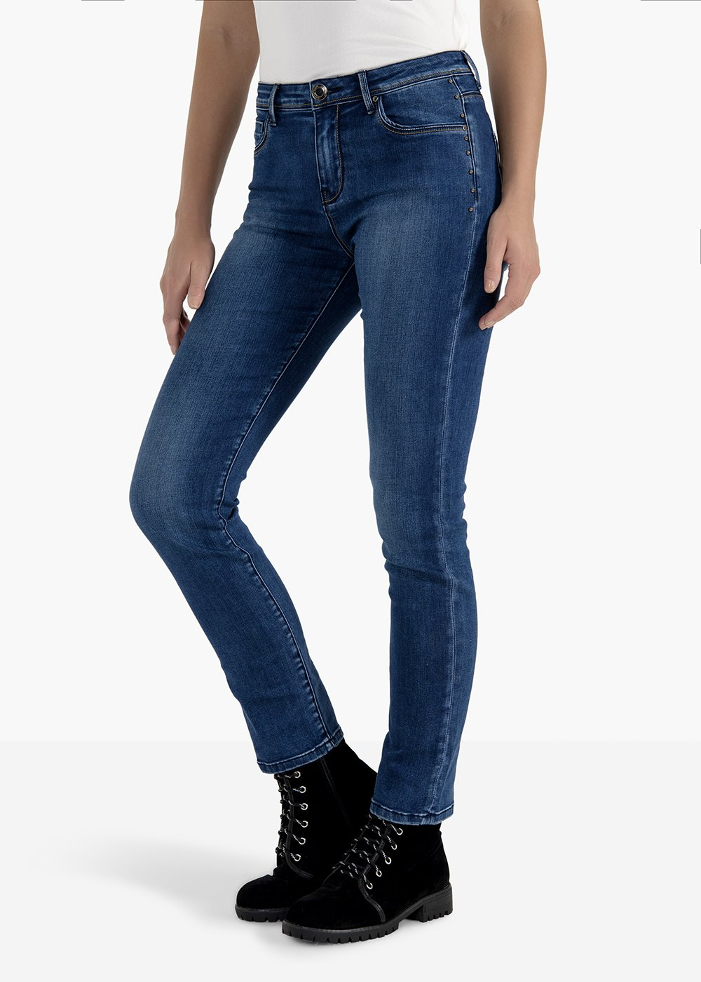 Trousers Dolly in skinny leg denim with side studs - Dark Denim - Woman