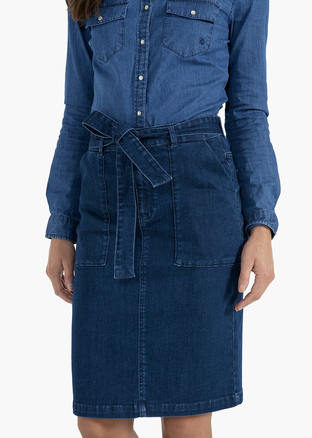 Glen denim skirt with pockets and belt - Dark Denim - Woman