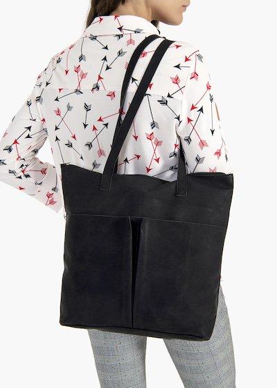 Shopping bag Baylee in eco pelle effetto used con tasconi sul davanti