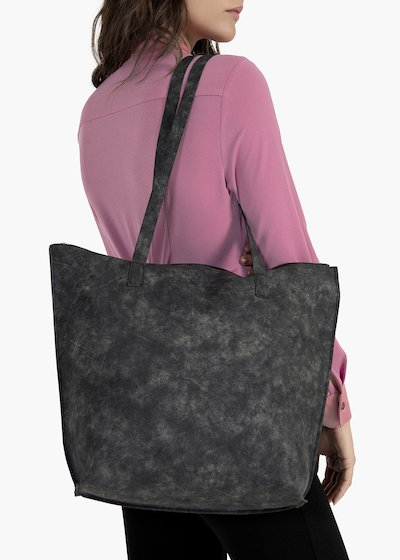 Blasie shopping bag in used effect eco leather with zip closure