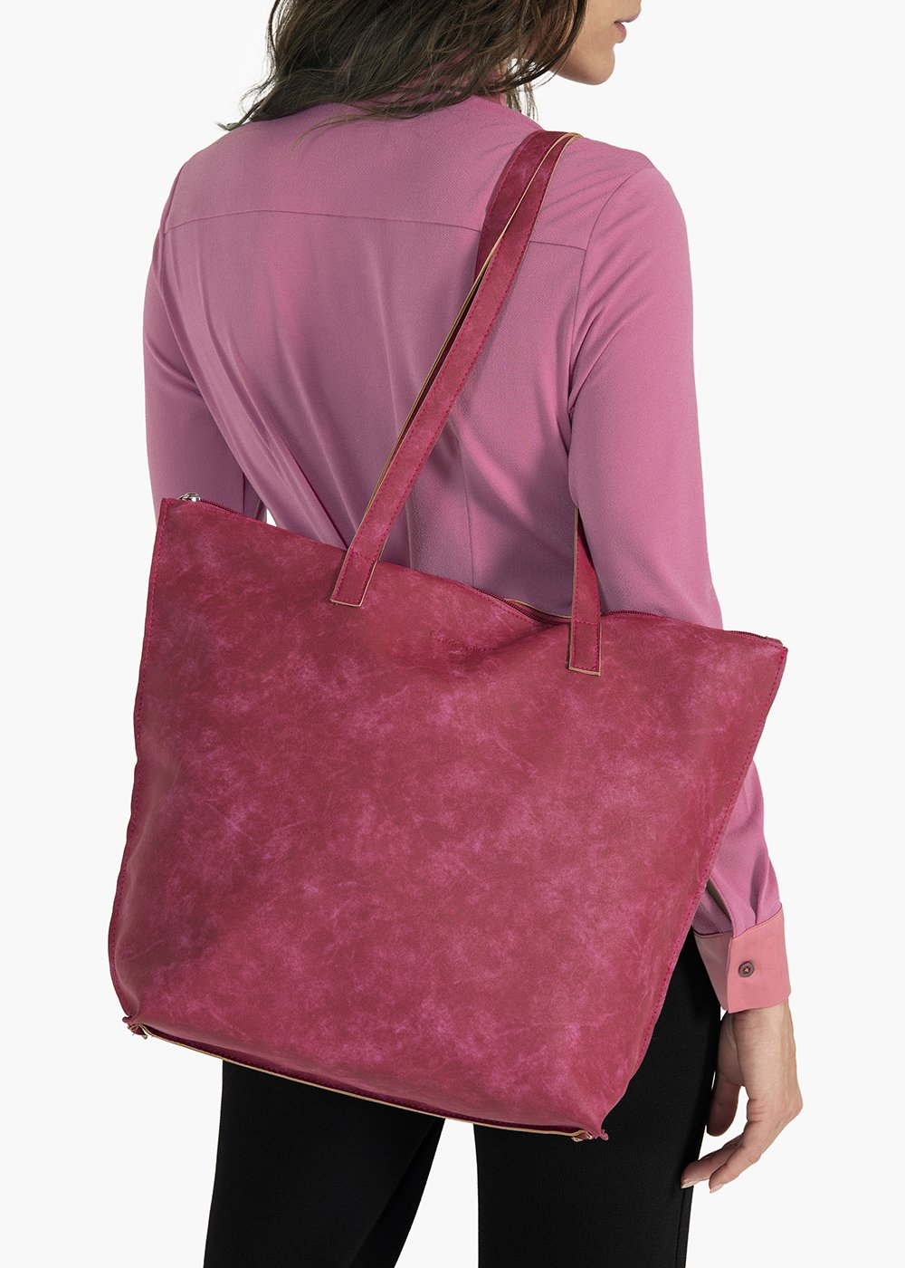 Blasie shopping bag in used effect eco leather with zip closure - Floreale - Woman