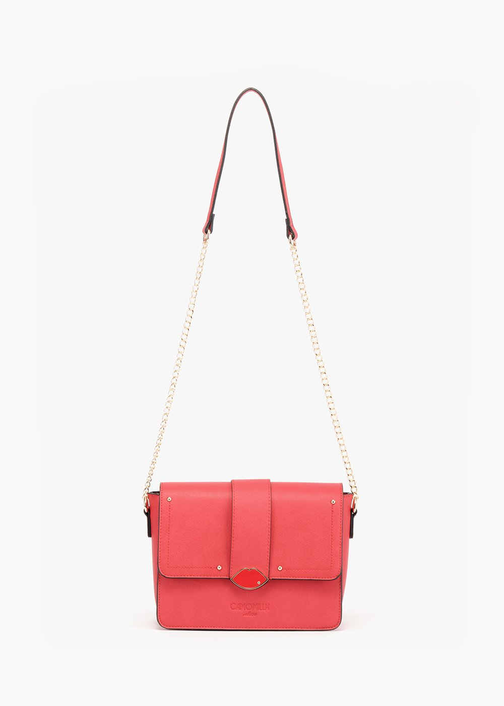 Brand pochette with enamelled mouth closure - Red - Woman