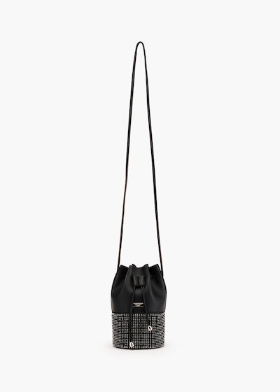 Micro Bastien bucket bag in eco leather with micro-rhinestones motif on the bottom