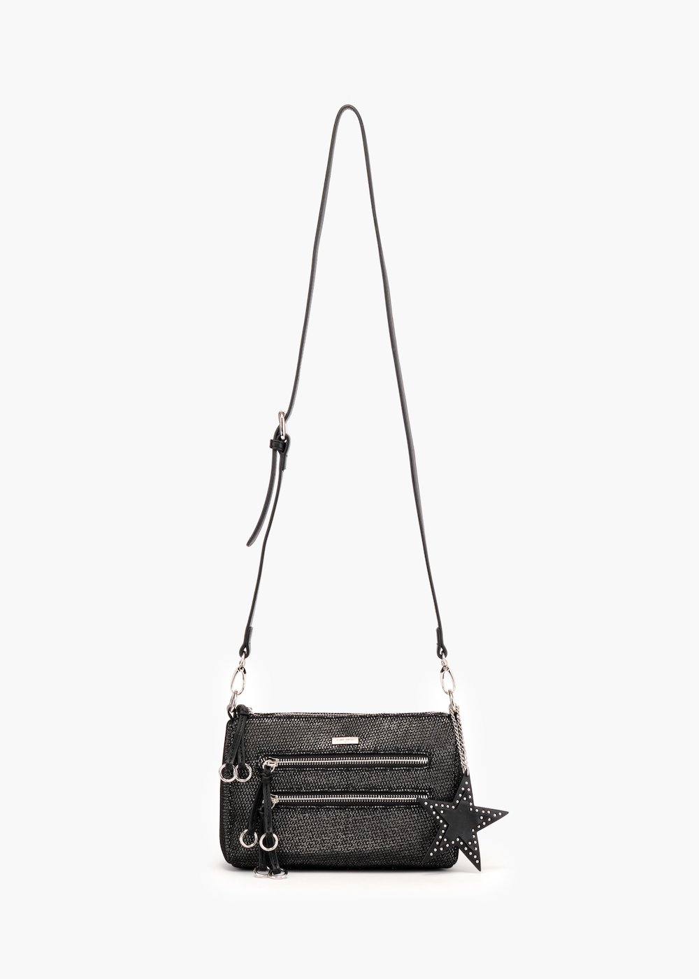 Bily pochette with shoulder strap in glitter fabric - Black / Silver - Woman
