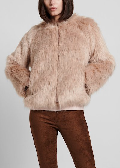 Sepia - coloured faux - fur bomber jacket