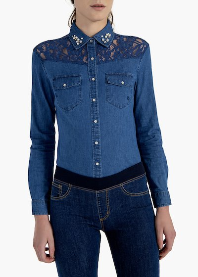 Camicia Cris in denim stretch con inserto di pizzo