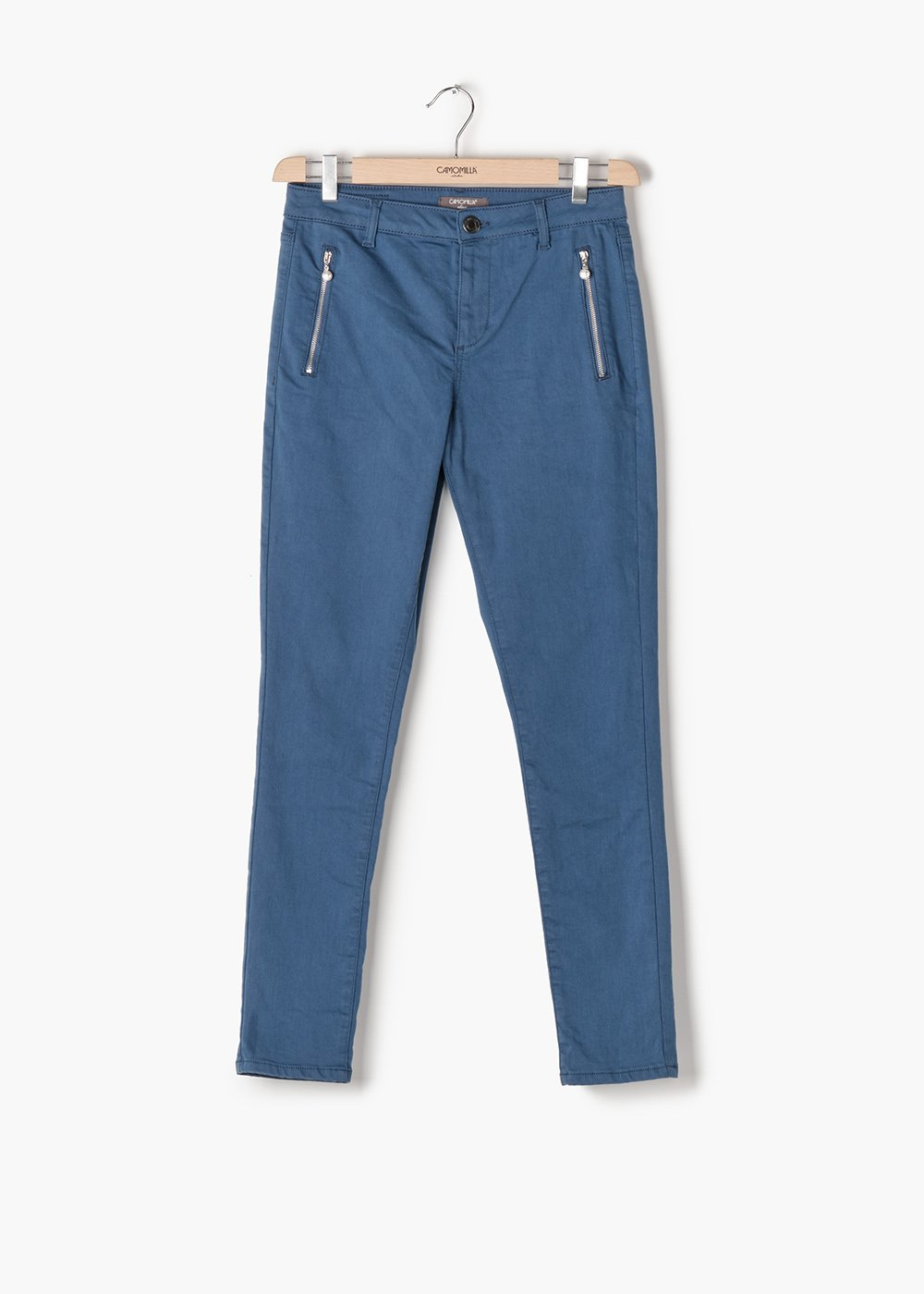 Phil skinny leg trousers with double front zip - Blue - Woman