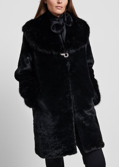 Long - haired faux - fur coat with jewel closure
