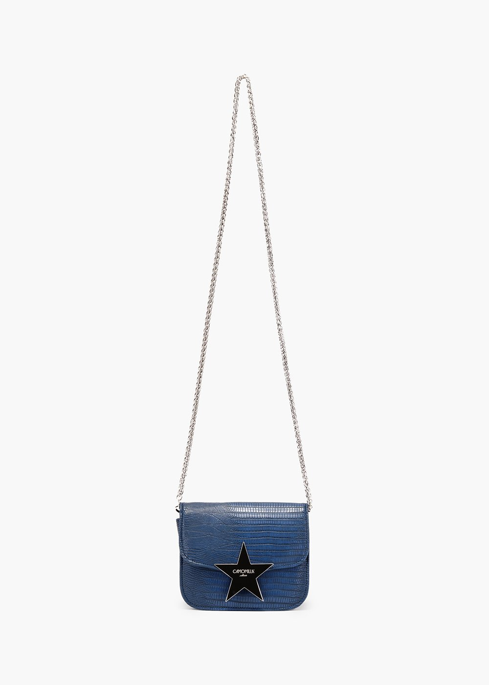Blanch pochette in eco leather with python print - Blue - Woman