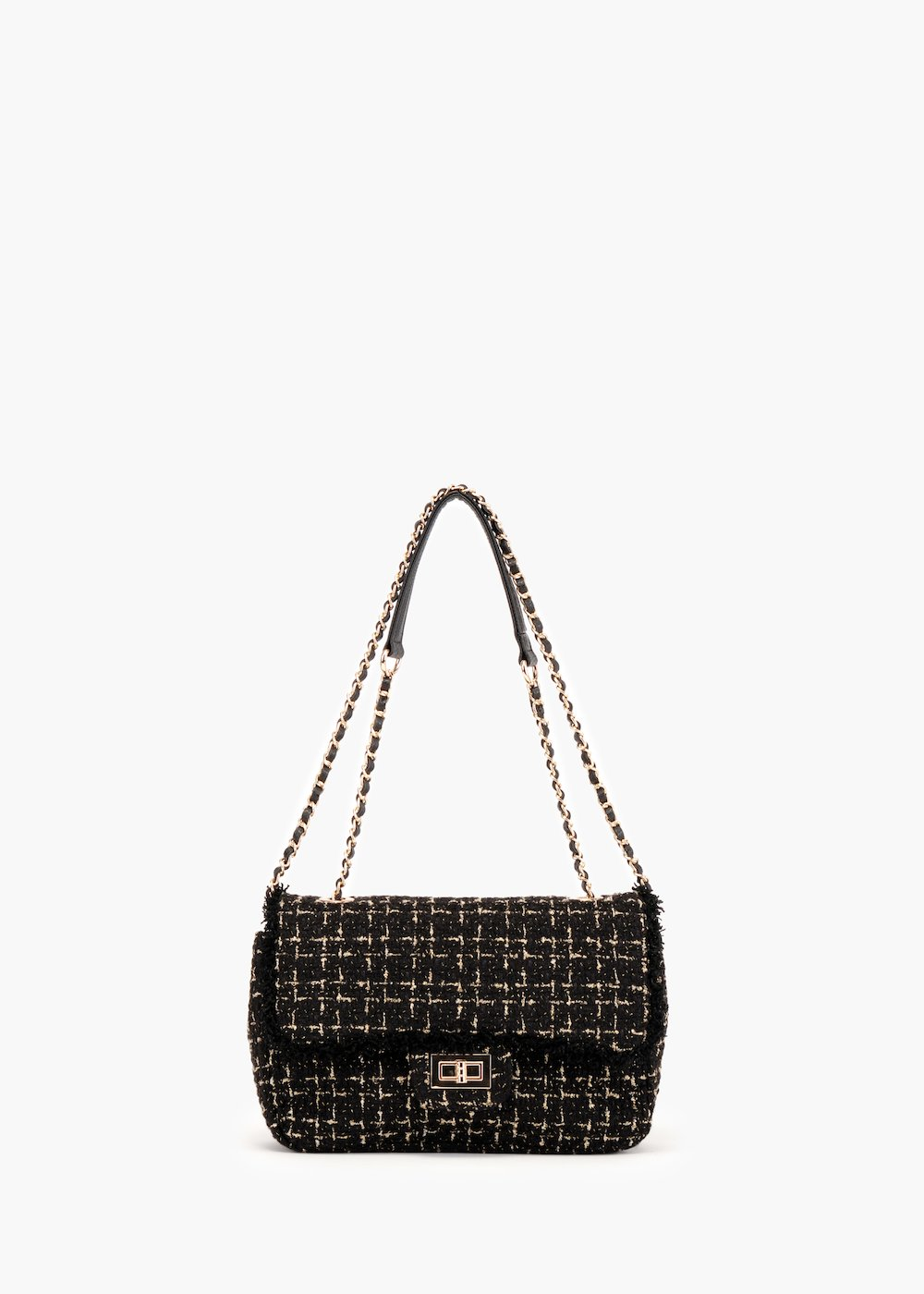 Giada Gold pochette in bouclé fabric - Black / Gold - Woman