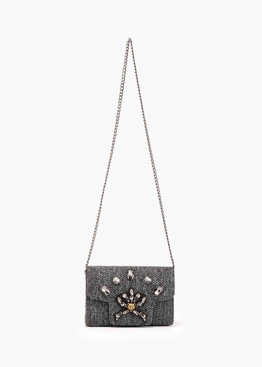 Britney rigid pochette in twill fabric - Medium Grey Melange - Woman