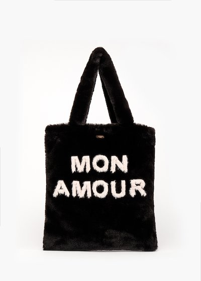 Shopping bag Bonjour in fake fur