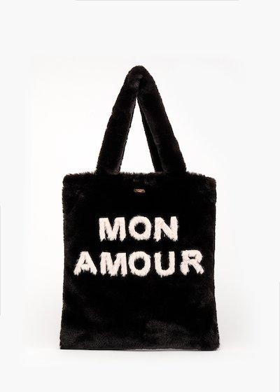 Shopping bag Bonjour in fake fur