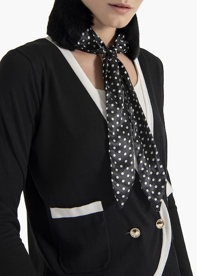 Amy fur collar with polka dot print