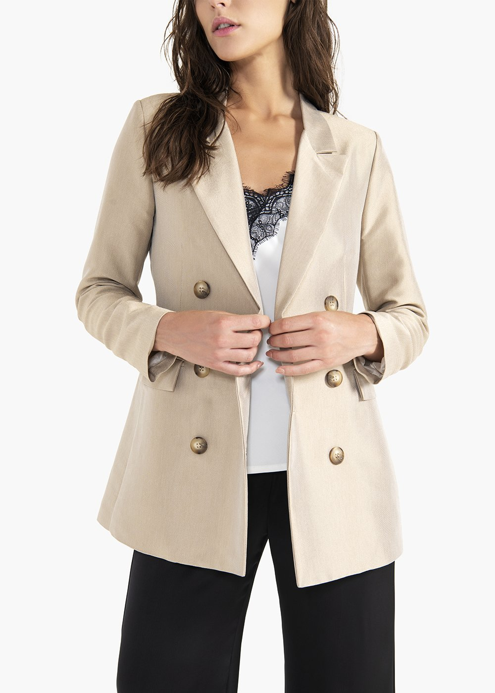 Golia double-breasted jacket in viscose fabric - Beige_White - Woman