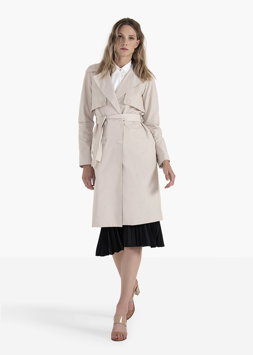 Ted double-breasted trench coat with belt and tortoise-shell buttons - Light Beige - Woman