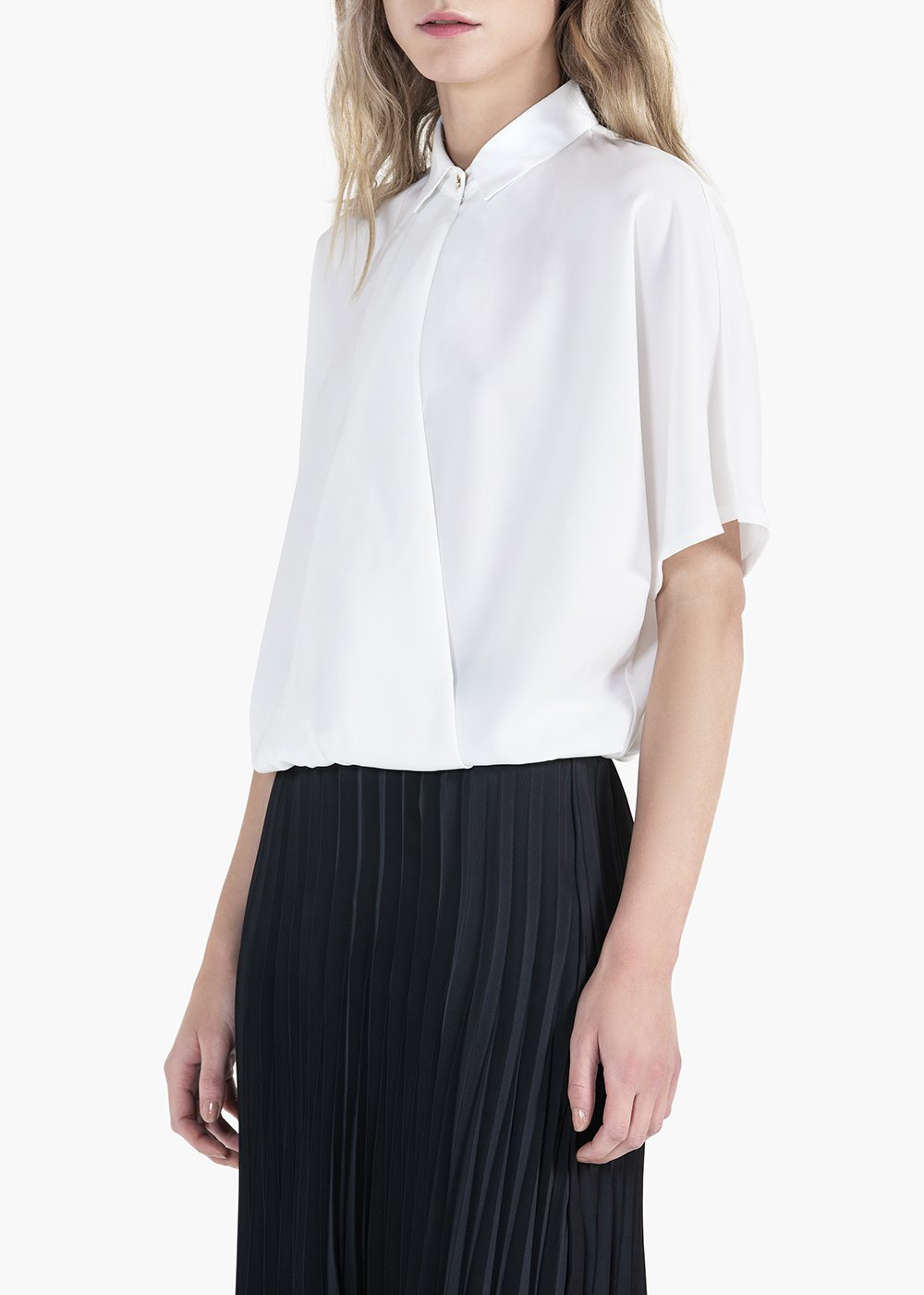 Carina blouse with 3/4 sleeve and collar - White - Woman