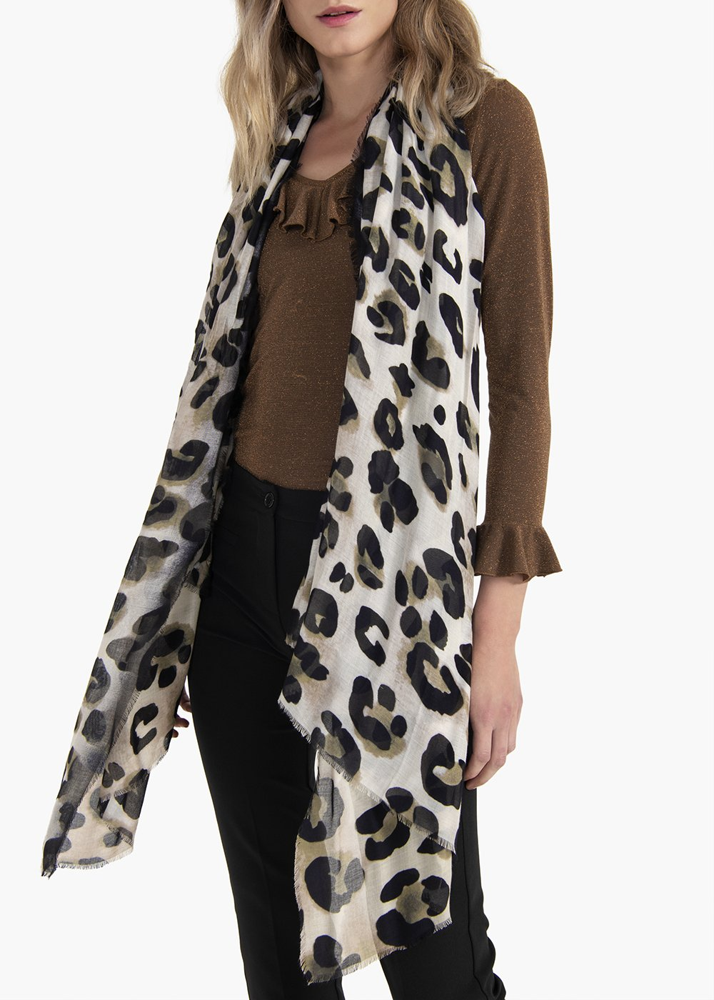 Soon scarf with animalier print