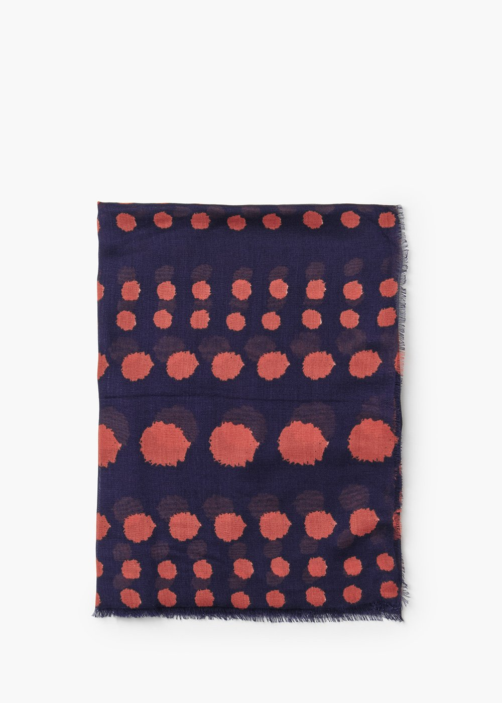 Star viscose scarf with polka dot print