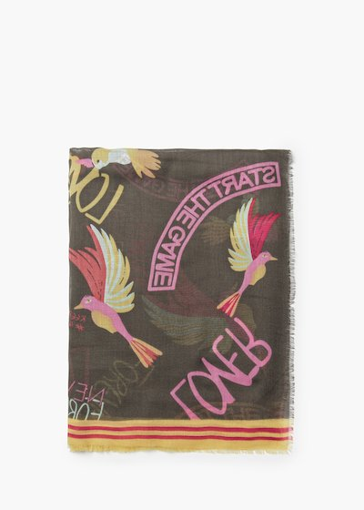 Susy viscose scarf with words and birds print