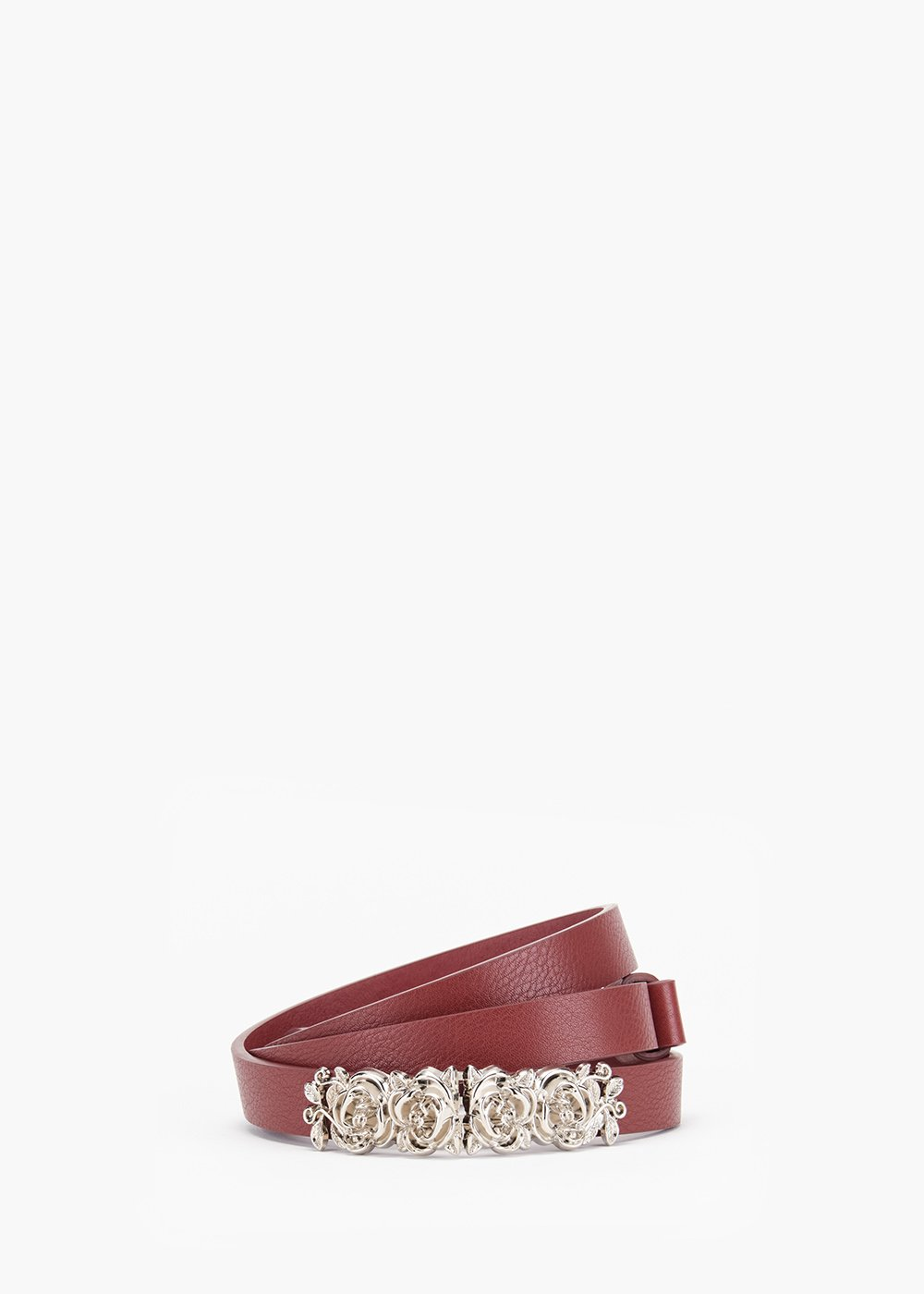 Cathie strap in eco leather with floral metal buckle - Bordeaux - Woman
