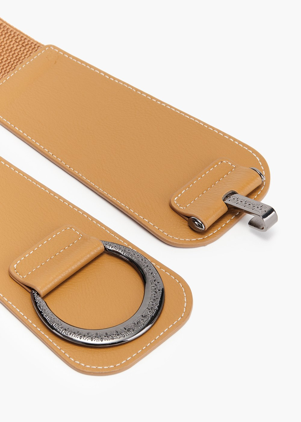 Crissy belt in eco-leather with metal closure and elastic part - Mustard - Woman