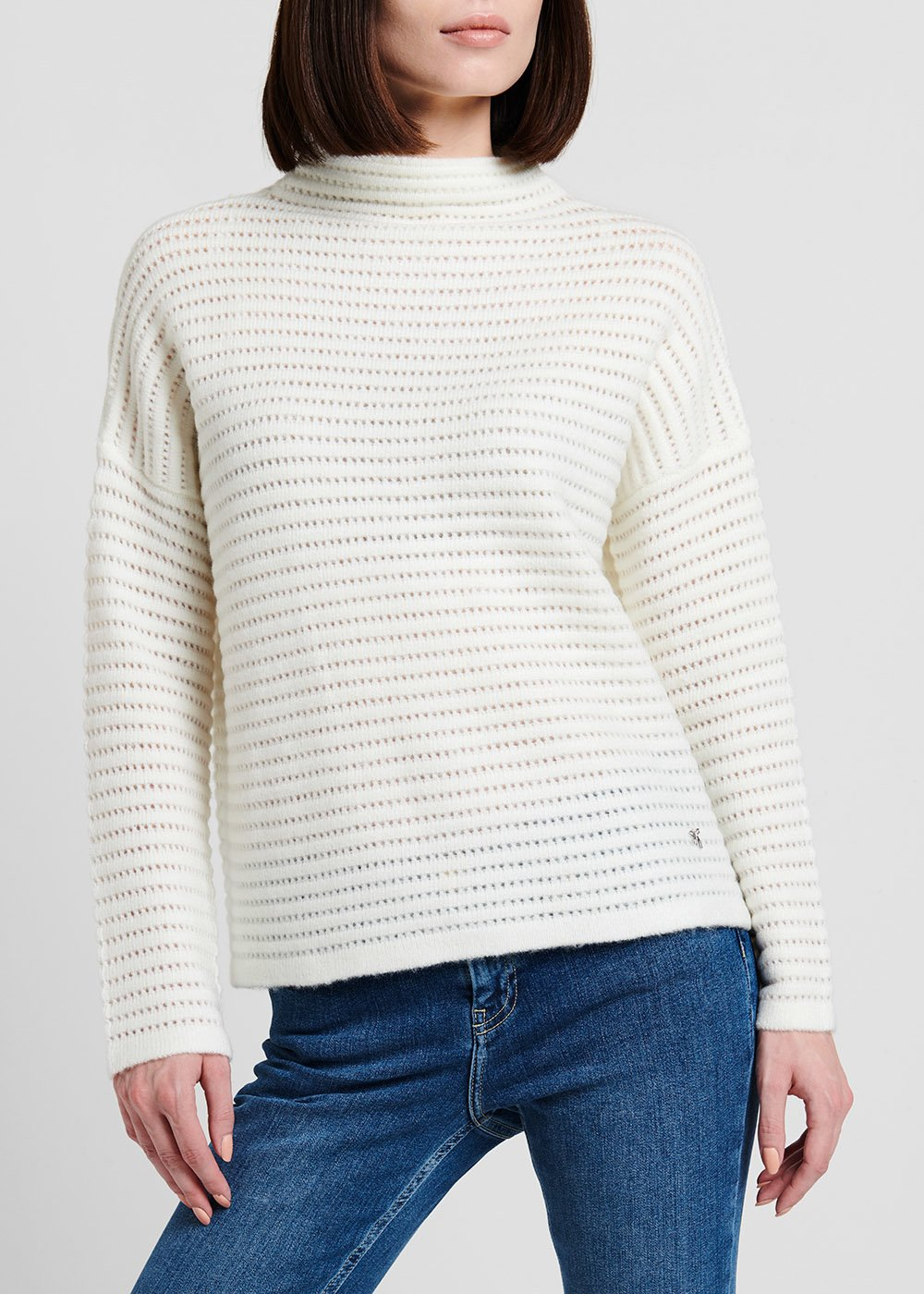 Merry sweater with crater neck and tone-on-tone stripe effect - White - Woman