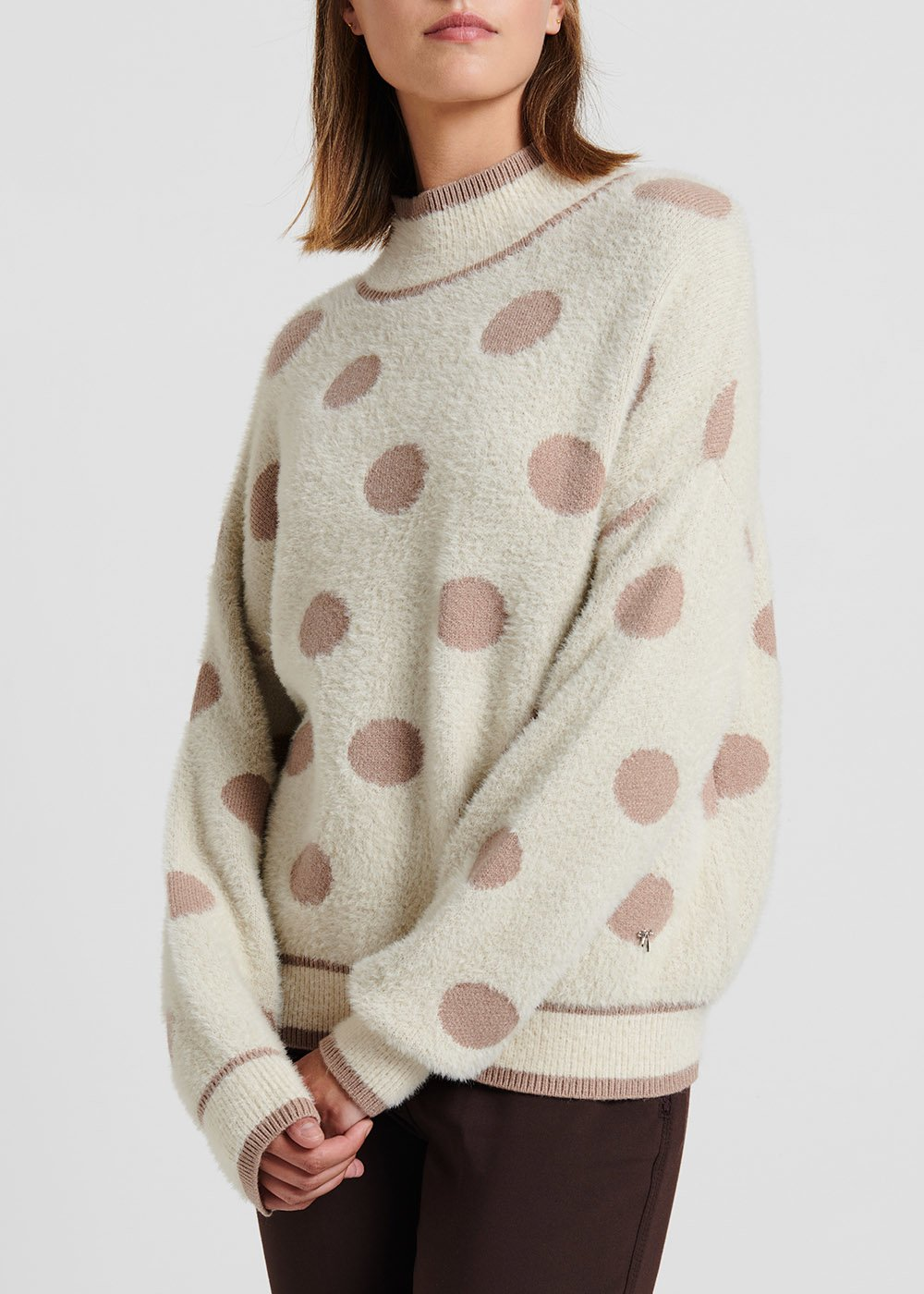 Light beige viscose sweater with fur effect fabric with polka dots - Light Beige / Suolo / Pois - Woman