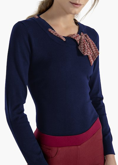 T-shirt Morena in viscose with scarf in georgette