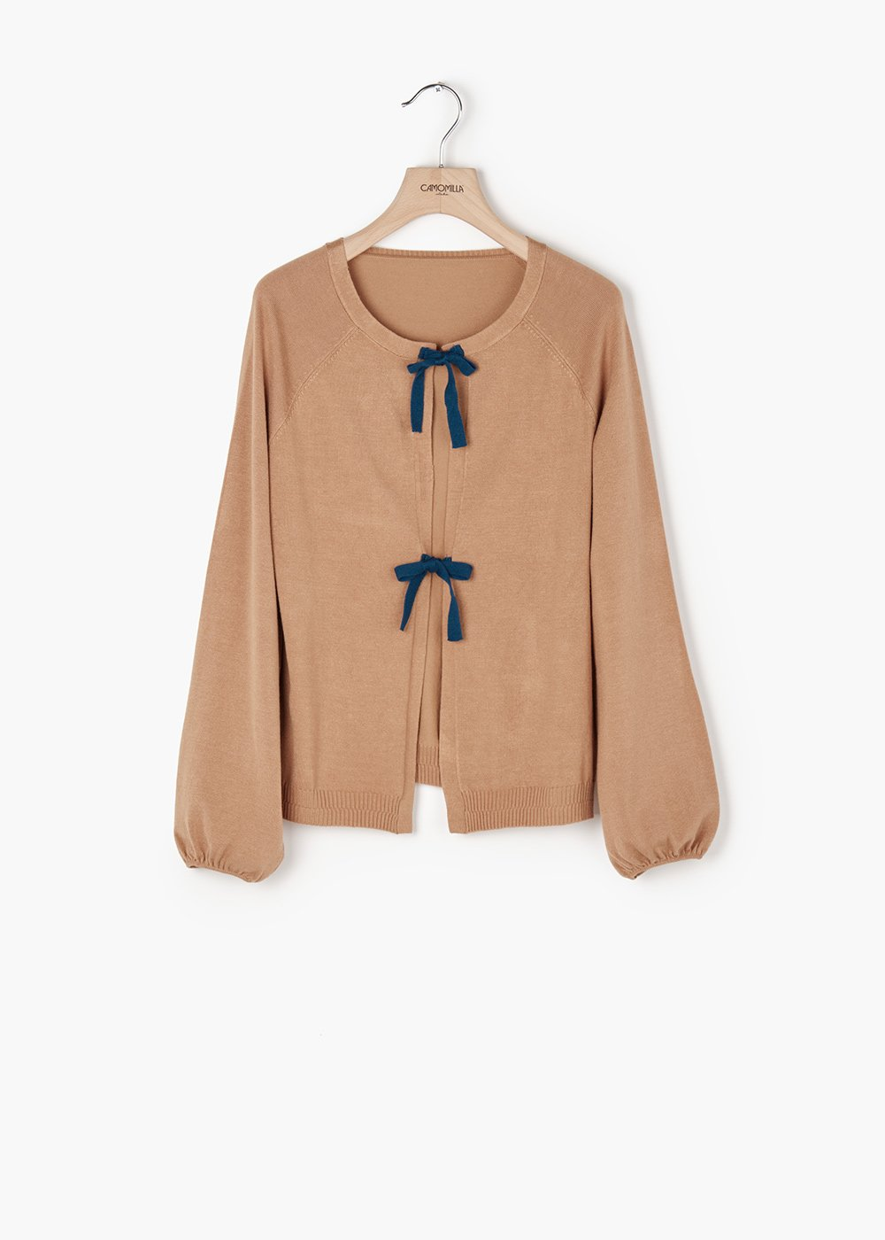 Clair jersey cardigan with puff sleeves - Mostarda\ Pavone - Woman