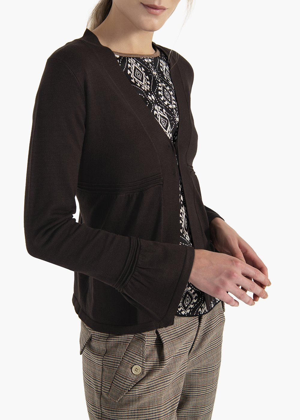 Viscose cardigan Colbys with hooks and flounce at the cuffs - Brown - Woman