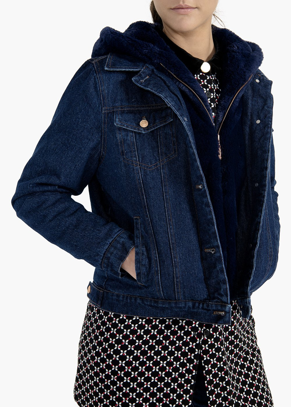 Jacket Glady in denim with eco-fur hood - Dark Denim - Woman
