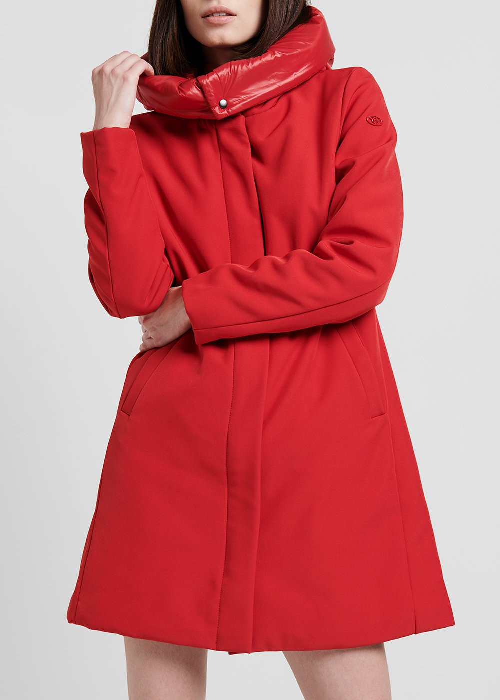 Coat in technical fabric with hood - Woman