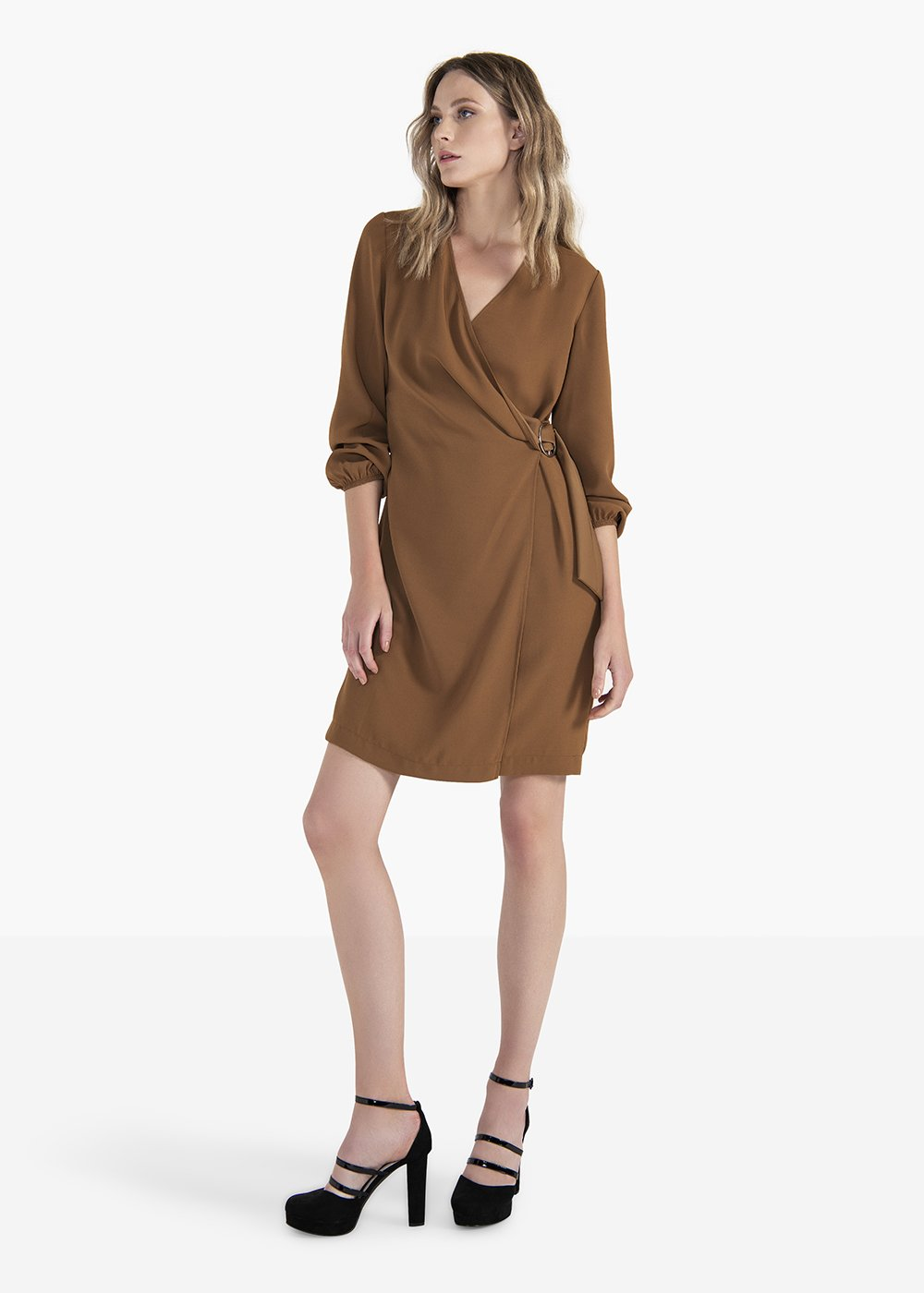 Aron dress with V-neck and ruffling at the bottom - Brown - Woman