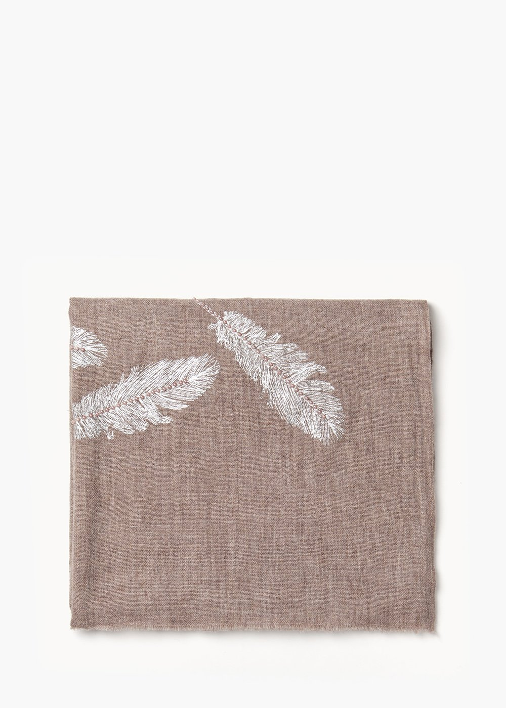Skinn wool scarf with flower embroidery - Putty - Woman