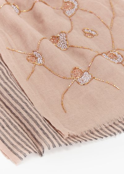 Saby wool scarf with micro floral embroidery