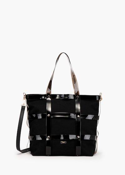 Shopping bag Beyon modello gabbia in tessuto canvas e vinile