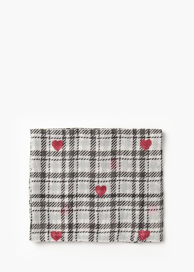 Sonya scarf with check print and red hearts
