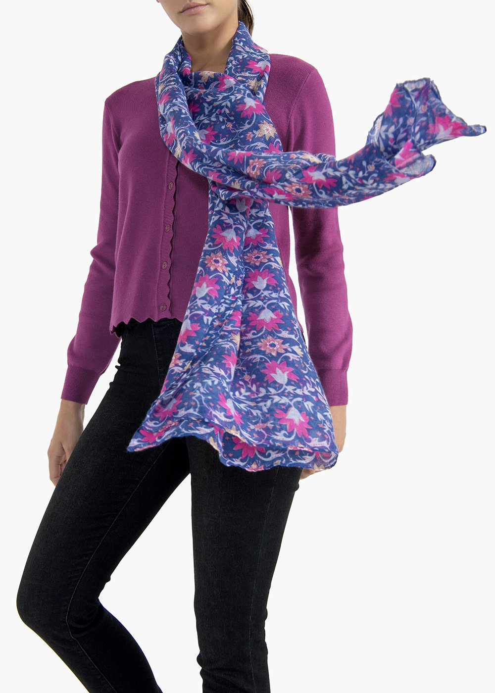 Sybil scarf with flower print - Avion / Floreale Fantasia - Woman