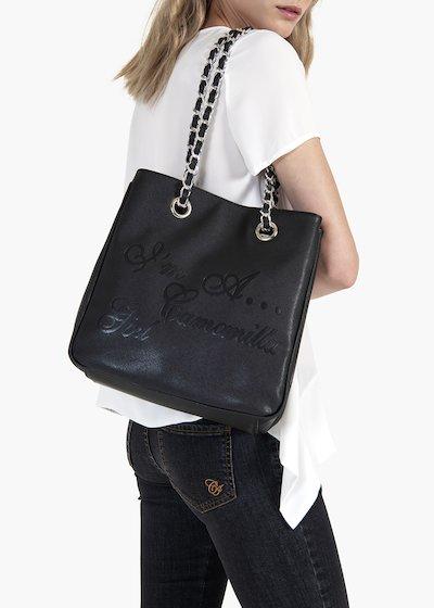 Shopping bag Mini Camo Girl in eco pelle saffiano con logo embossed