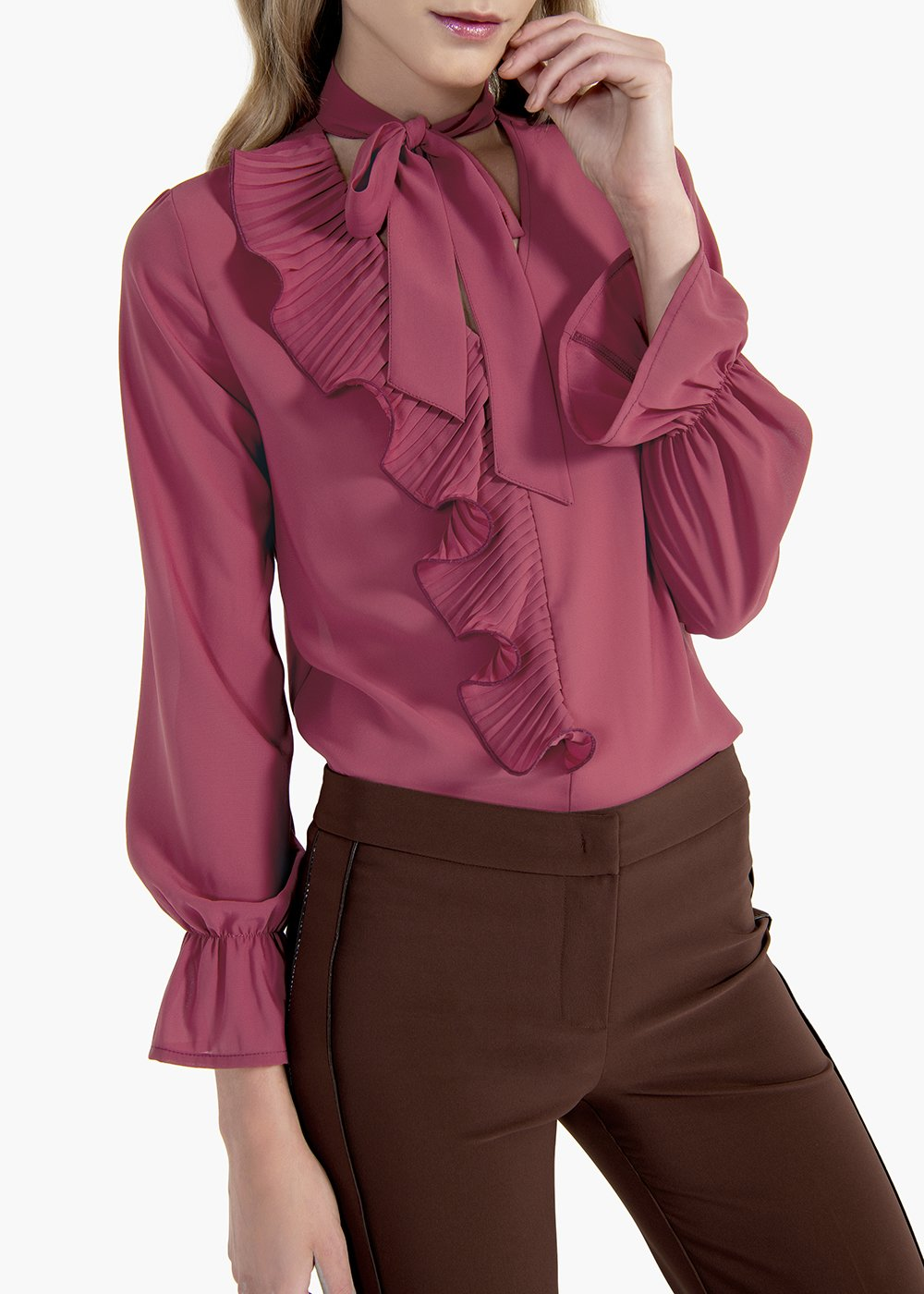 Cyprien georgette shirt with V-neck - Floreale - Woman