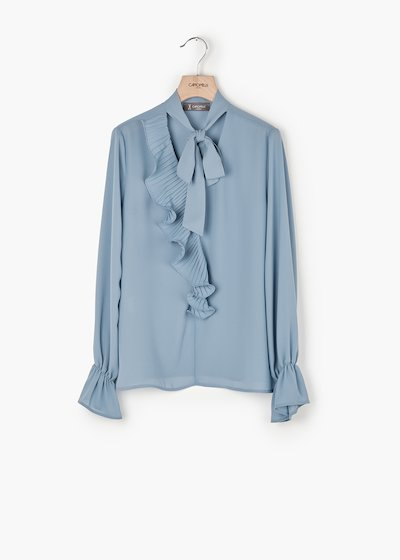 Cyprien georgette shirt with V-neck