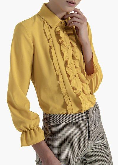 Camicia Charlotte in crêpe con rouche