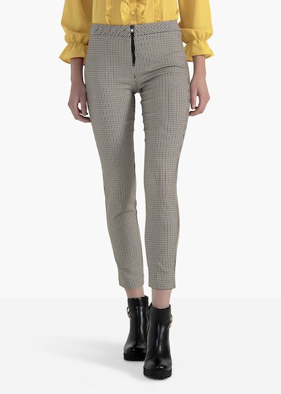 Piramo trousers in stretch jacquard with central zip