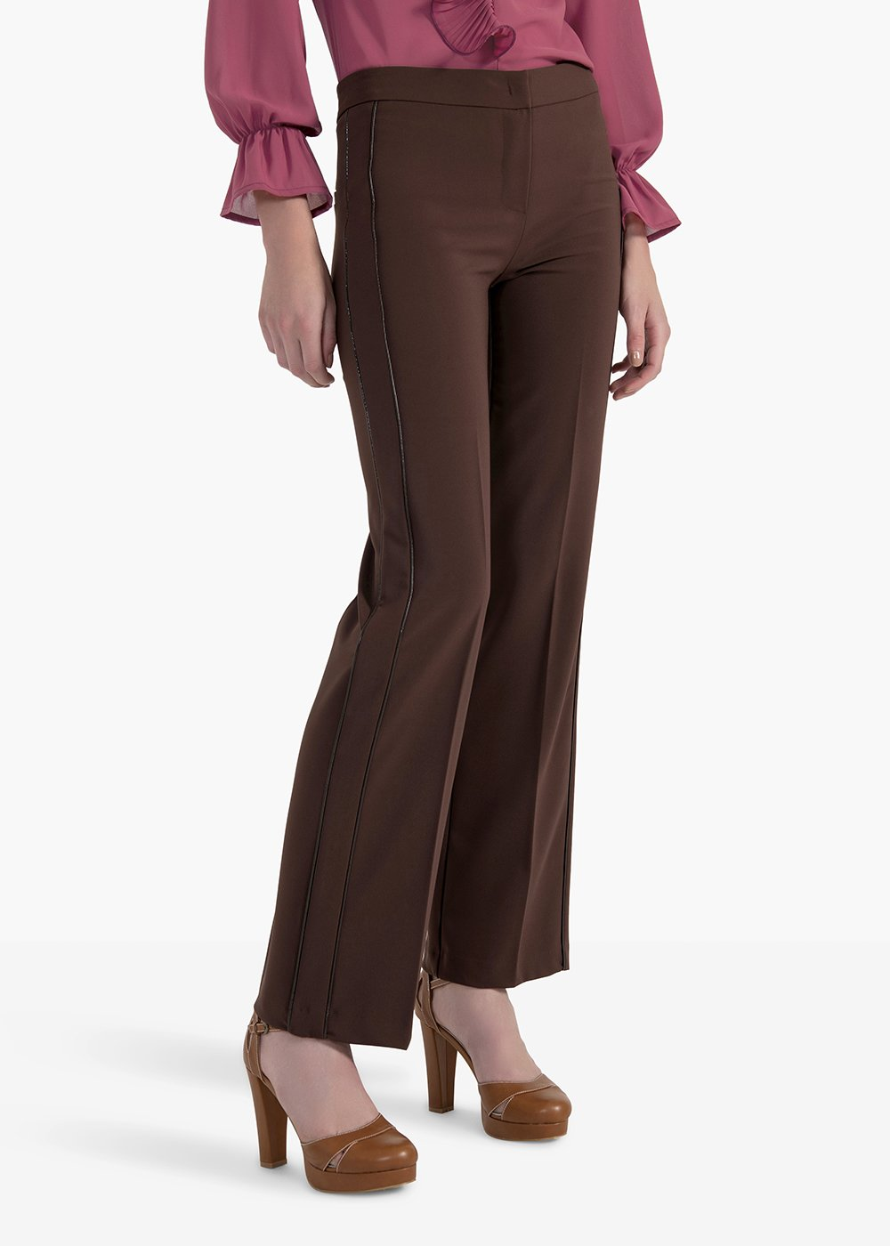 Pegaso trousers in technical fabric with double side piping - Brown - Woman
