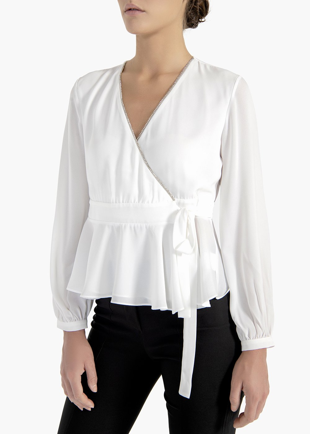 Racer blouse Cael in georgette fabric with ribbon - White - Woman