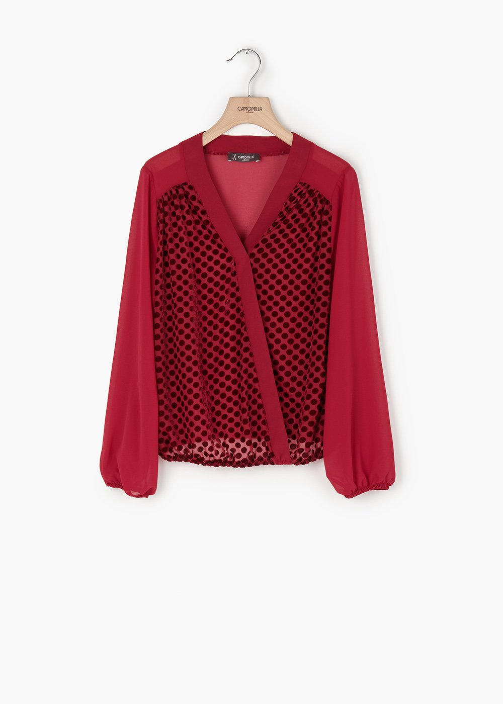 Racer neck blouse Coel in georgette and pois flock detail - Bordeaux - Woman