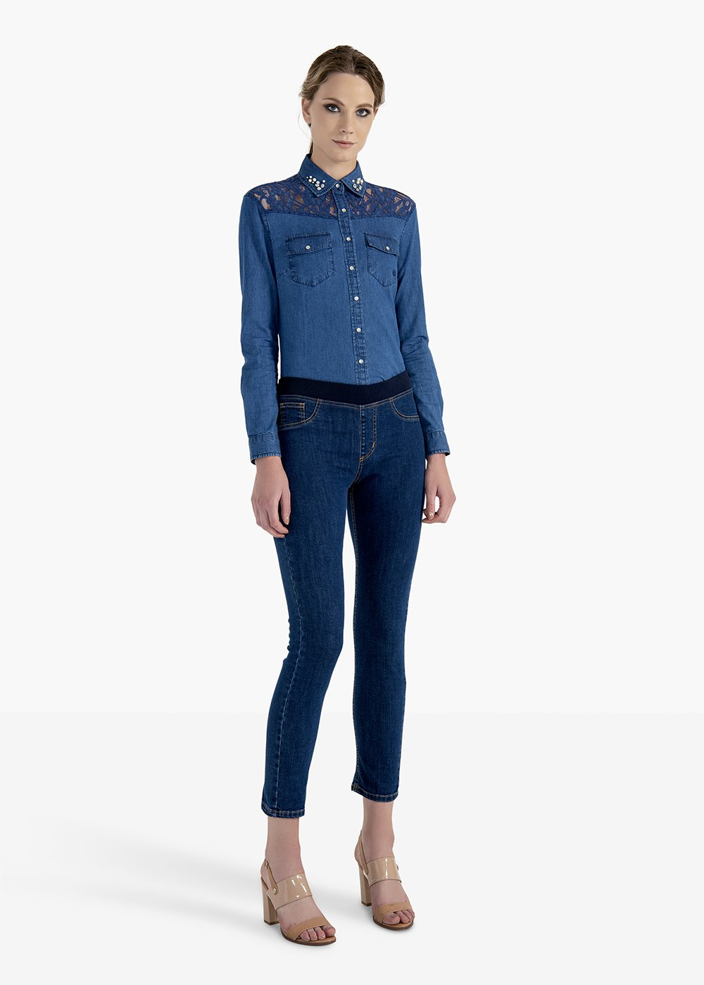 Kelly trousers in stretch denim with elastic - Dark Denim - Woman
